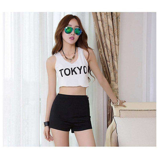 High Waist Side Zipper Shorts