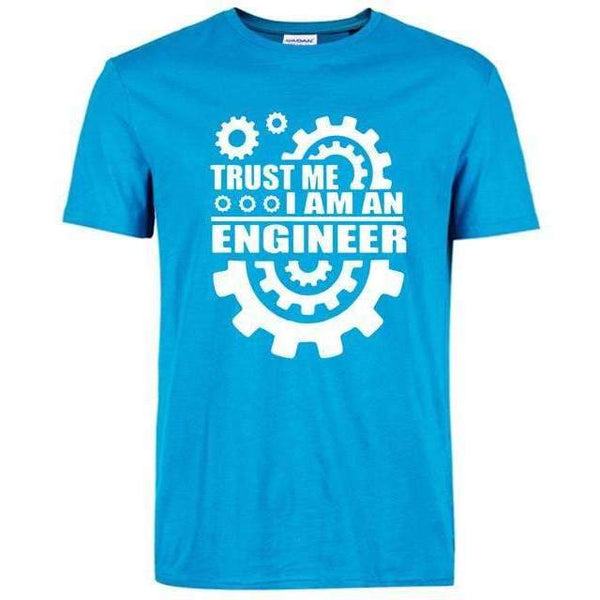 FluxClothings: Trust Me I Am An Engineer T-Shirt,Sky Blue/White / S