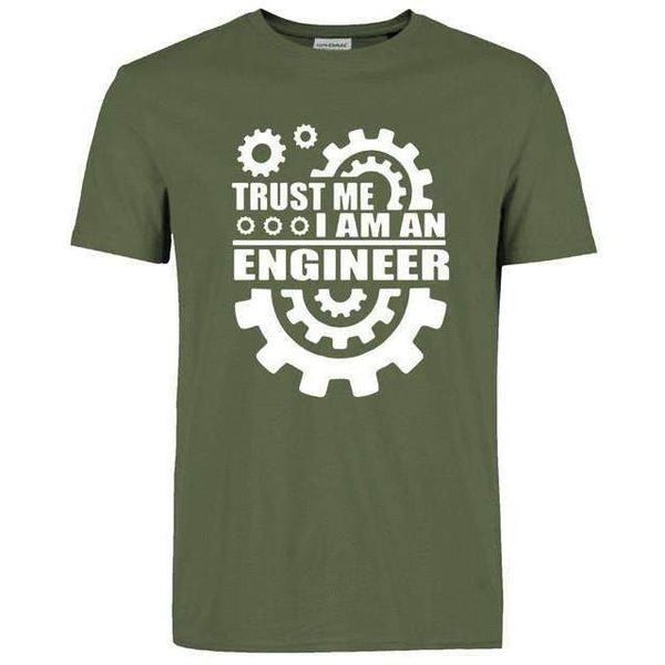 FluxClothings: Trust Me I Am An Engineer T-Shirt,Dark Green/White / S