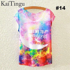 FluxClothings: Women's Graphic Printed T-Shirts,#14 / One Size