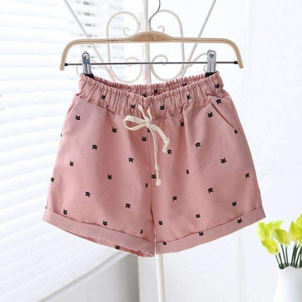 FluxClothings: Cats Pattern Shorts,Pink / One Size