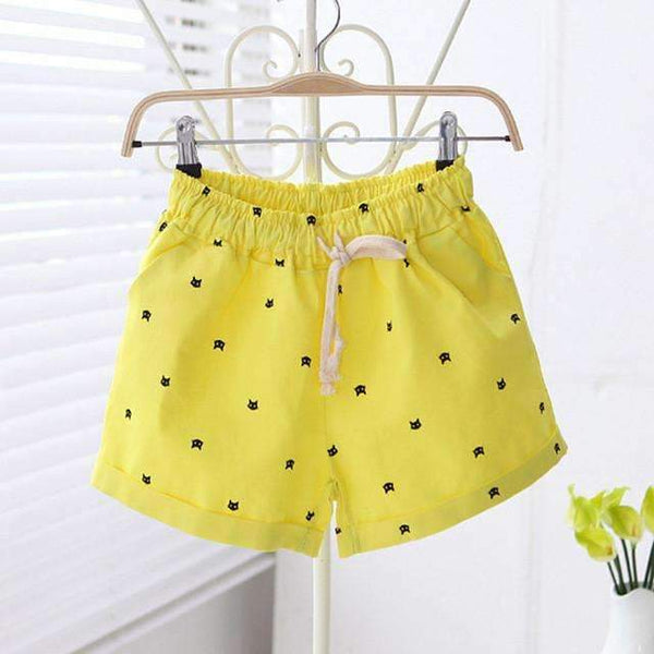 FluxClothings: Cats Pattern Shorts,Yellow / One Size