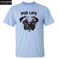 FluxClothings: cotton casual pug life mens t shirts top quality fashion short sleeve men tshirt men's tee shirts tops men T-shirt 2017 T01,L BLUE / XS