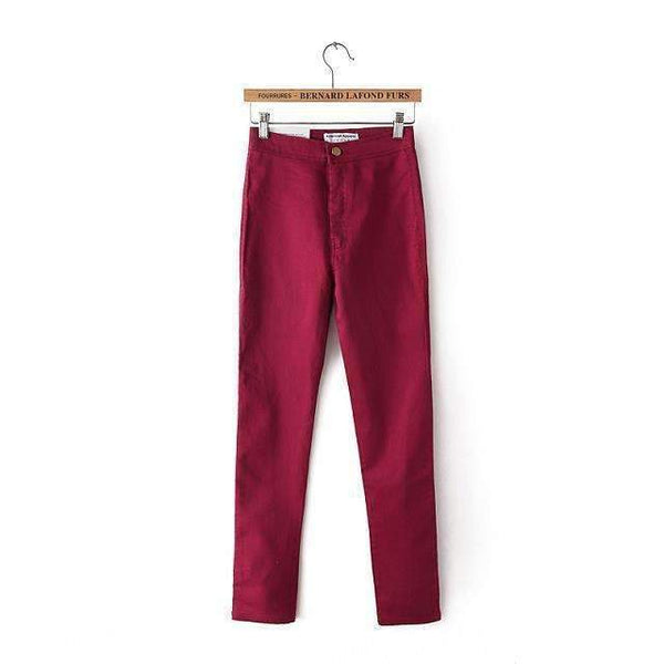 FluxClothings: High Waist Slim Pencil Jeans,Red / XS