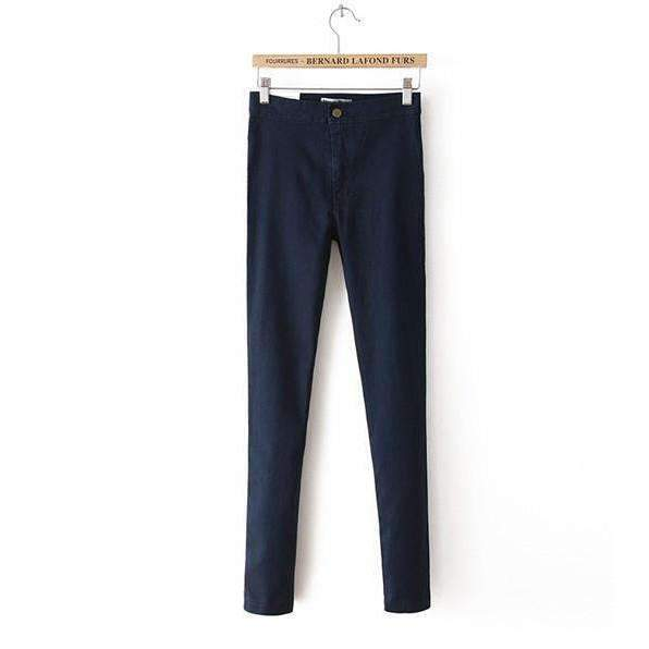 FluxClothings: High Waist Slim Pencil Jeans,Navy blue / XS