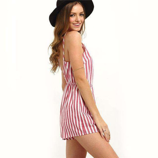 FluxClothings: COLROVIE Sleeveless Summer Style Beach Rompers Women Jumpsuit Ladies Sexy Vertical Stripe Backless Cutaway Rompers,Red / XS