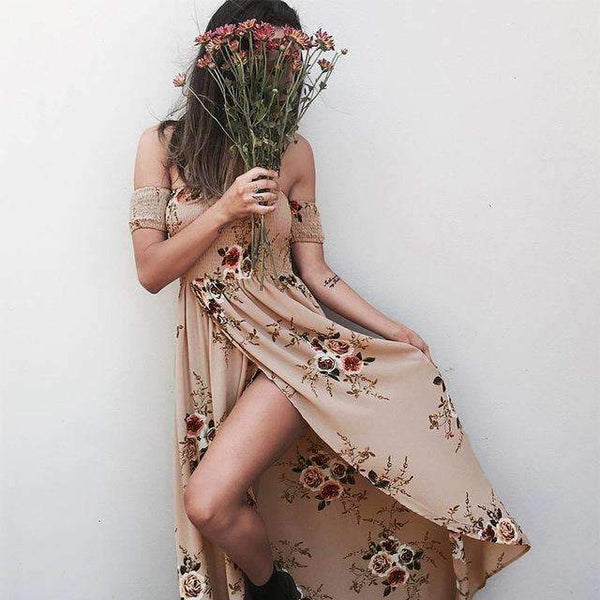 FluxClothings: Boho Style Strapless Long Dress,Pink / L