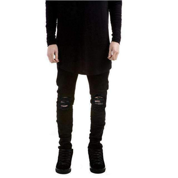 Black Denim Ripped Slim Fit Jeans