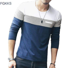 FluxClothings: FGKKS New Arrival Fashion T-Shirt Men Brand Long Sleeve Patchwork Striped T Shirts Mens Casual Hip Hop T Shirt Male Plus Size