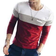 FluxClothings: FGKKS New Arrival Fashion T-Shirt Men Brand Long Sleeve Patchwork Striped T Shirts Mens Casual Hip Hop T Shirt Male Plus Size,WhiteRed / Asian size XL