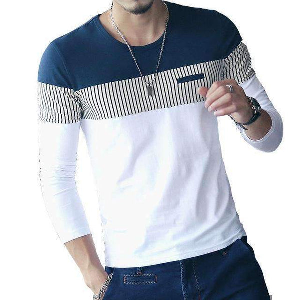 FluxClothings: FGKKS New Arrival Fashion T-Shirt Men Brand Long Sleeve Patchwork Striped T Shirts Mens Casual Hip Hop T Shirt Male Plus Size,NavyWhite / Asian size XL