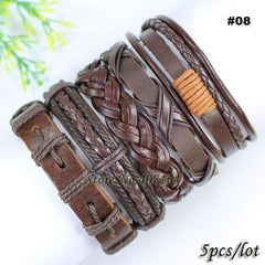 5pcs leather bracelet