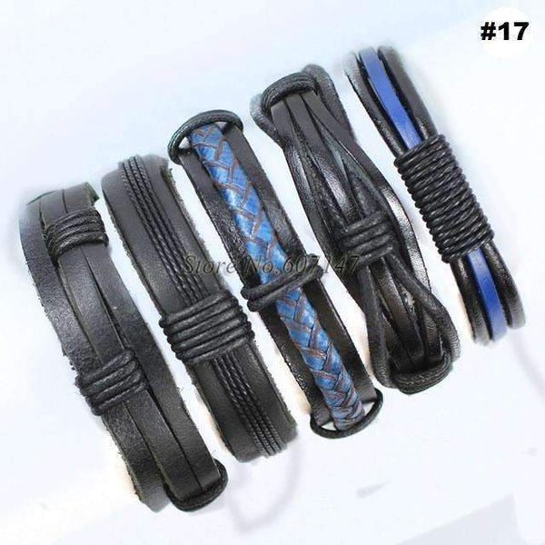 FluxClothings: 5pcs leather bracelet,#17