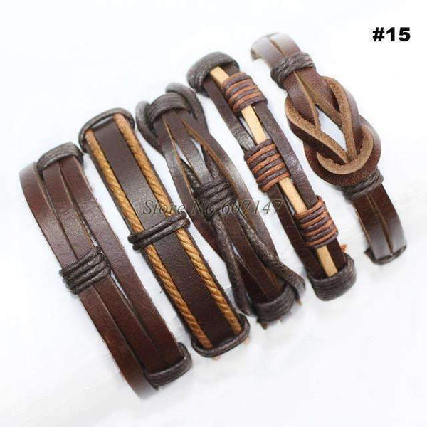 FluxClothings: 5pcs leather bracelet,#15