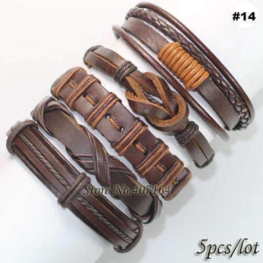 FluxClothings: 5pcs leather bracelet,#14