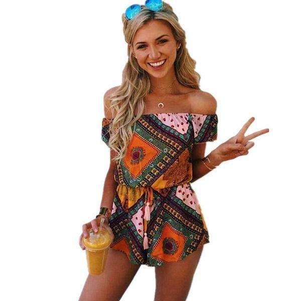 FluxClothings: ELSVIOS Women Rompers print  lace Jumpsuit Summer Short pleated Overalls Jumpsuit Female chest wrapped strapless Playsuit,05 / L