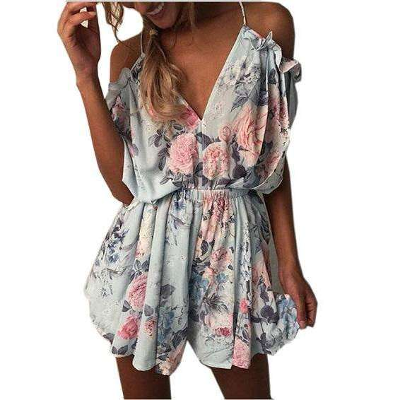 FluxClothings: ELSVIOS Women Rompers print  lace Jumpsuit Summer Short pleated Overalls Jumpsuit Female chest wrapped strapless Playsuit,11 / L