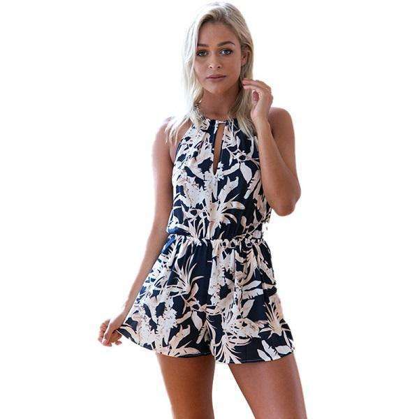 FluxClothings: ELSVIOS Women Rompers print  lace Jumpsuit Summer Short pleated Overalls Jumpsuit Female chest wrapped strapless Playsuit,13 / L