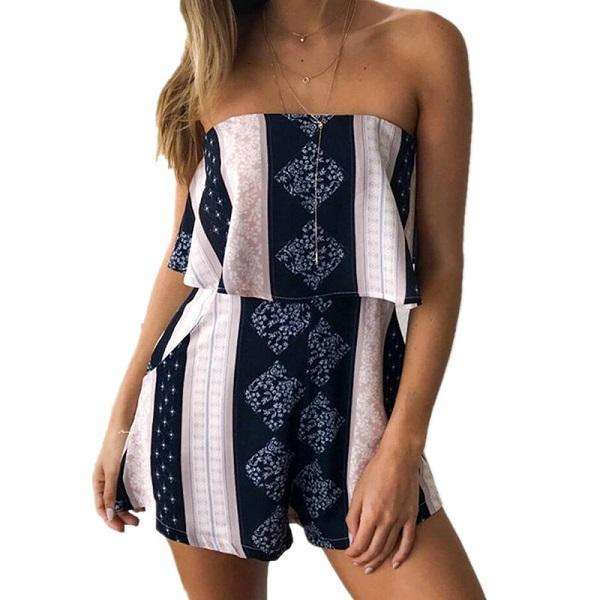 FluxClothings: ELSVIOS Women Rompers print  lace Jumpsuit Summer Short pleated Overalls Jumpsuit Female chest wrapped strapless Playsuit,15 / L
