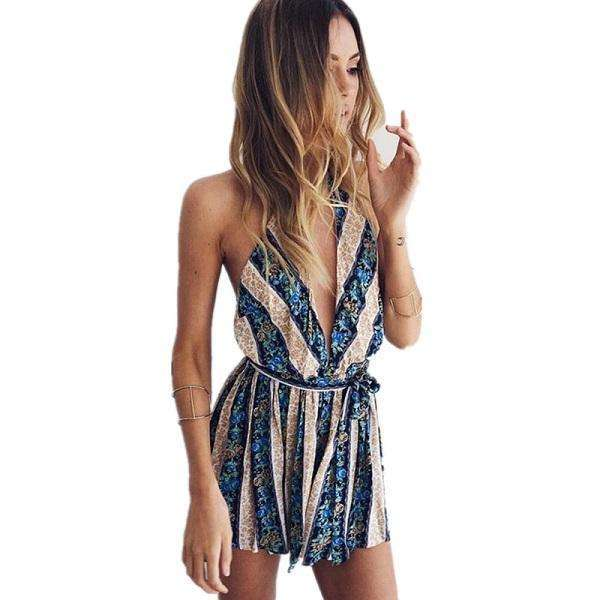FluxClothings: ELSVIOS Women Rompers print  lace Jumpsuit Summer Short pleated Overalls Jumpsuit Female chest wrapped strapless Playsuit,16 / L