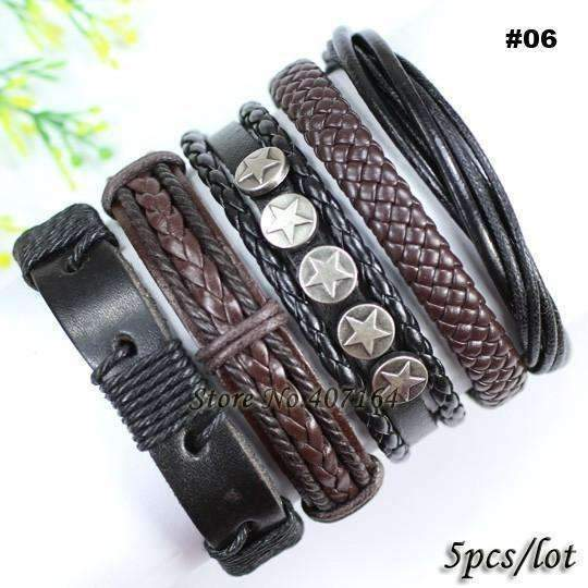FluxClothings: 5pcs leather bracelet,#06