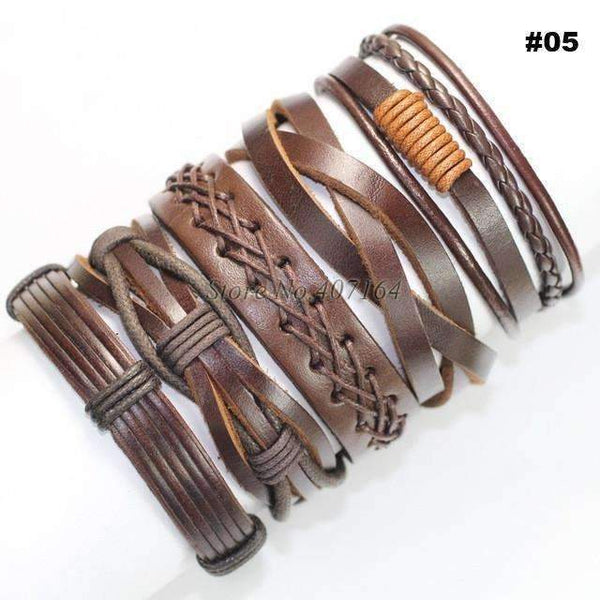 FluxClothings: 5pcs leather bracelet,#05