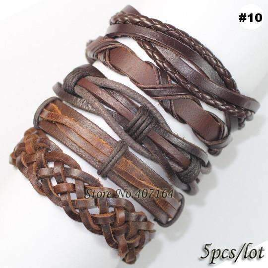 FluxClothings: 5pcs leather bracelet,#10