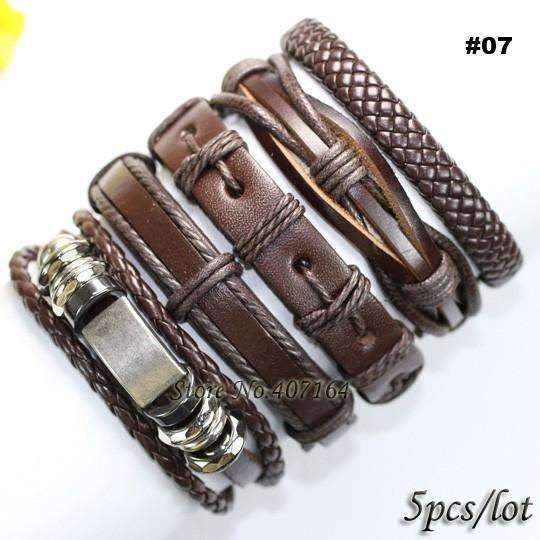FluxClothings: 5pcs leather bracelet,#07