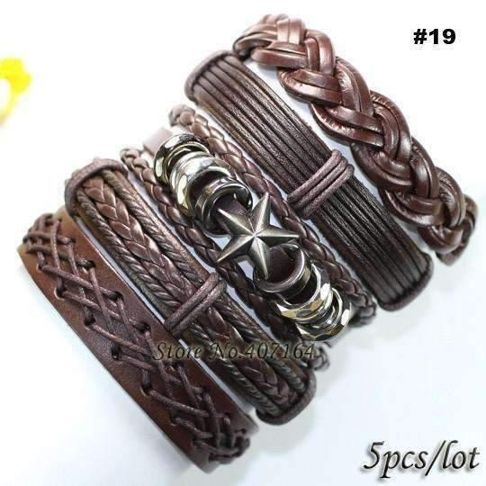 FluxClothings: 5pcs leather bracelet,#19