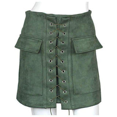 FluxClothings: Lace-up Pencil Skirt,Army Green / L