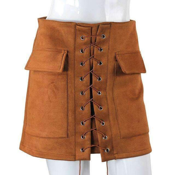 FluxClothings: Lace-up Pencil Skirt,Camel / L