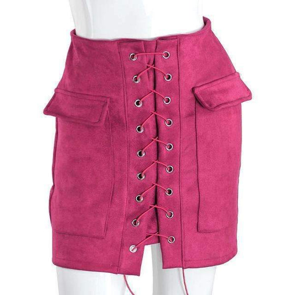 FluxClothings: Lace-up Pencil Skirt,Deep Pink / L