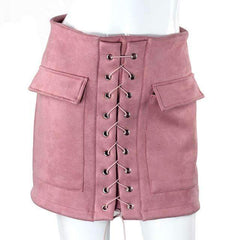 FluxClothings: Lace-up Pencil Skirt,Pink / L
