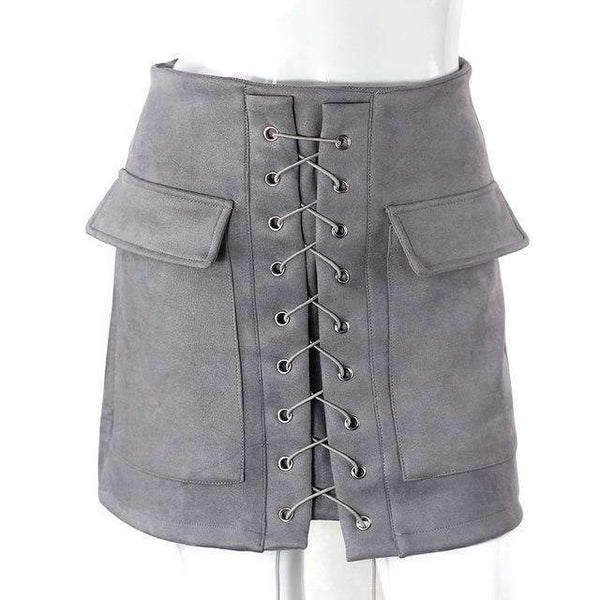 FluxClothings: Lace-up Pencil Skirt,Grey / L