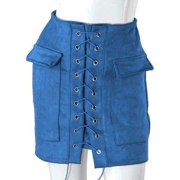 FluxClothings: Lace-up Pencil Skirt,Royal Blue / L
