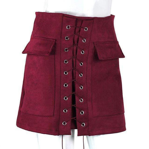 FluxClothings: Lace-up Pencil Skirt,Dark Red / L