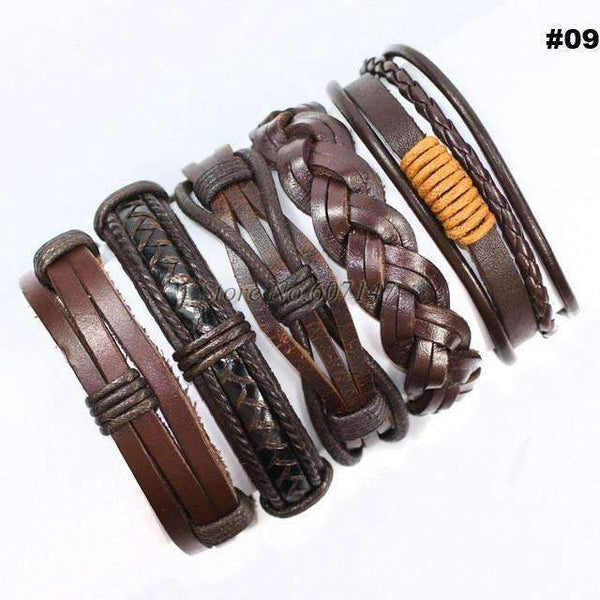 FluxClothings: 5pcs leather bracelet,#09