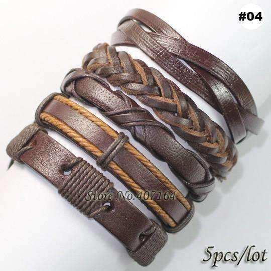 FluxClothings: 5pcs leather bracelet,#04