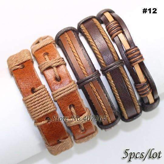 FluxClothings: 5pcs leather bracelet,#12