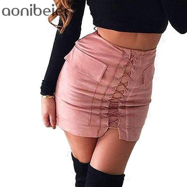 Lace-up Pencil Skirt - FluxClothings