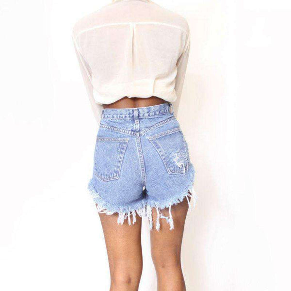 FluxClothings: 2017 New Summer Sexy Irregular Women's Fashion Denim High Waist Shorts Slim Fit Denim Jeans Tassel Shorts new
