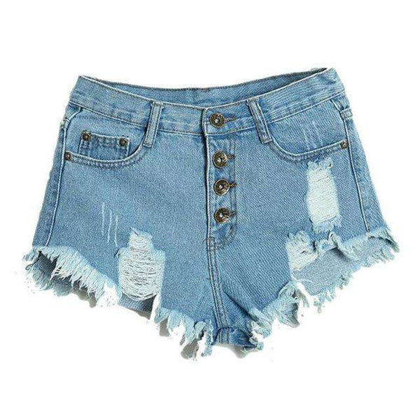 Irregular Denim High Waist Shorts - FluxClothings