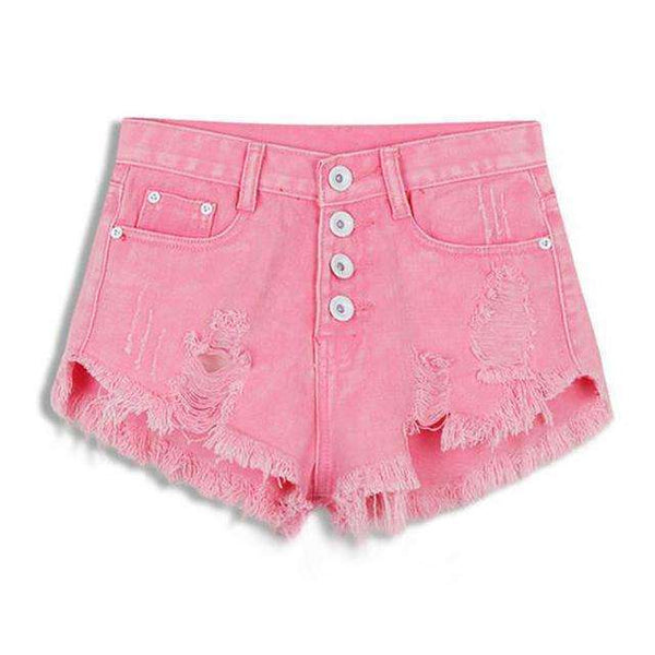 FluxClothings: 2017 New Summer Sexy Irregular Women's Fashion Denim High Waist Shorts Slim Fit Denim Jeans Tassel Shorts new,Pink / S