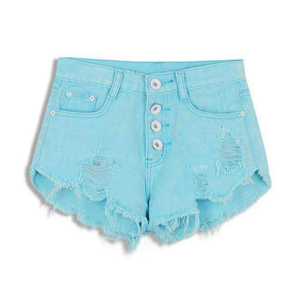 FluxClothings: 2017 New Summer Sexy Irregular Women's Fashion Denim High Waist Shorts Slim Fit Denim Jeans Tassel Shorts new,Light Blue / S
