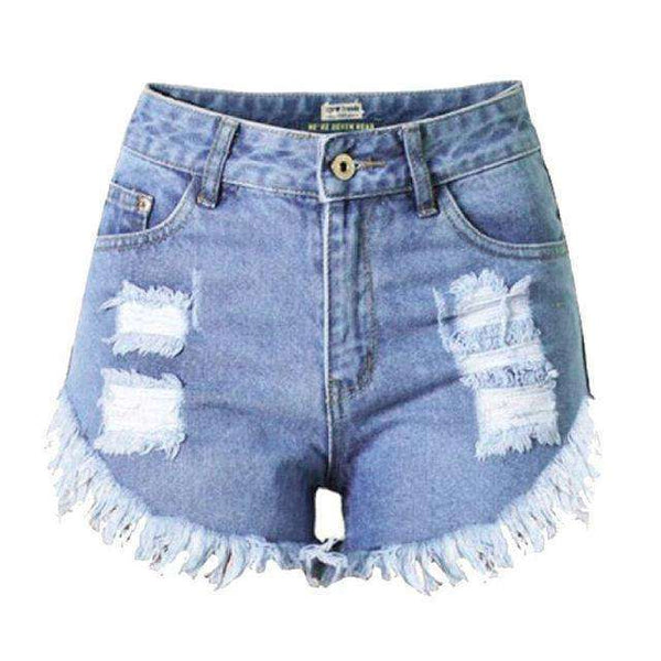 FluxClothings: 2017 New Summer Sexy Irregular Women's Fashion Denim High Waist Shorts Slim Fit Denim Jeans Tassel Shorts new,Blue 2 / S