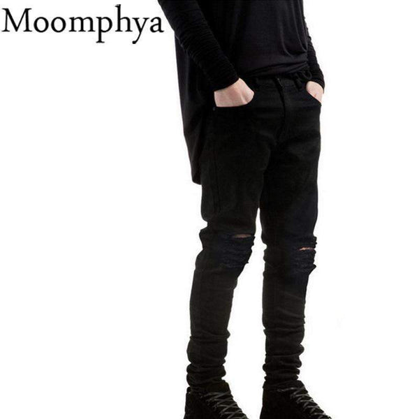 Black Denim Ripped Slim Fit Jeans - FluxClothings
