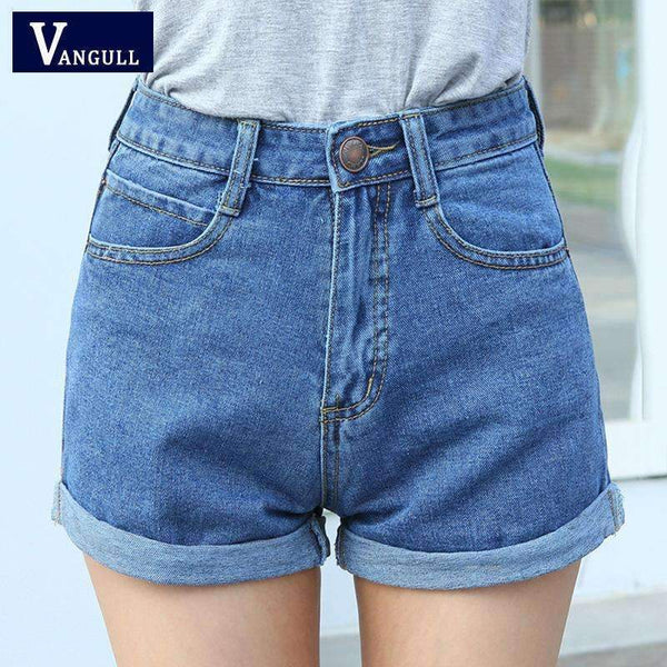 High Waist Denim Shorts - FluxClothings