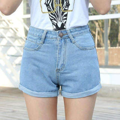 FluxClothings: High Waist Denim Shorts,Sky Blue / L