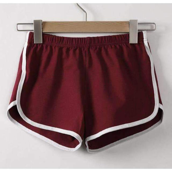 FluxClothings: Casual Fitness Shorts,Wine red / S
