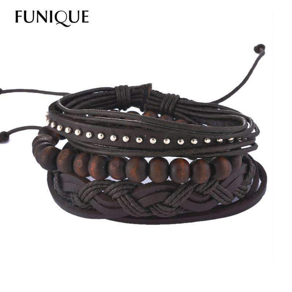 FluxClothings: Multilayer Leather Rope Beads Bracelet